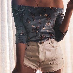 Suede floral top